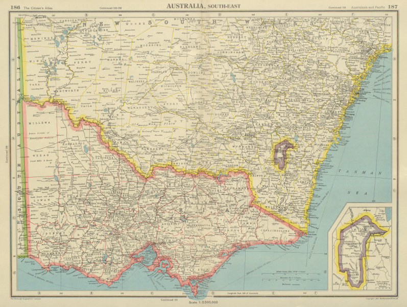 Associate Product SOUTH-EAST AUSTRALIA. Victoria NSW Federal Capital Territory Jervis Bay 1947 map