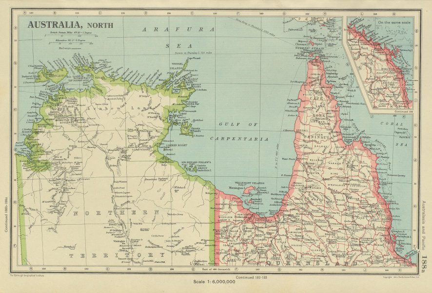 Associate Product NORTHERN AUSTRALIA. Cape York. Gulf of Carpentaria. Queensland NT 1947 old map
