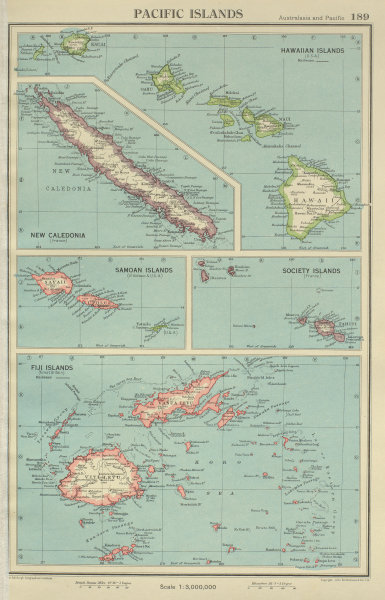 Associate Product PACIFIC ISLANDS. Hawaii Samoa Fiji New Caledonia Society Islands 1947 old map