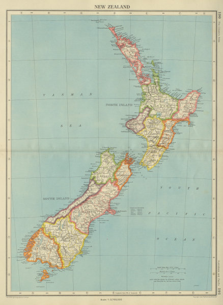 Associate Product NEW ZEALAND. Showing provinces & counties. BARTHOLOMEW 1947 old vintage map
