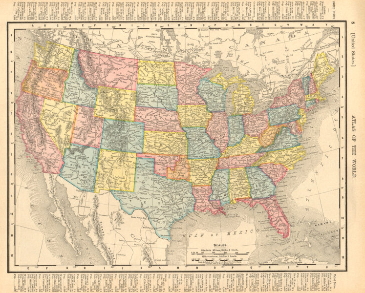 Associate Product United States. USA. RAND MCNALLY 1906 old antique vintage map plan chart
