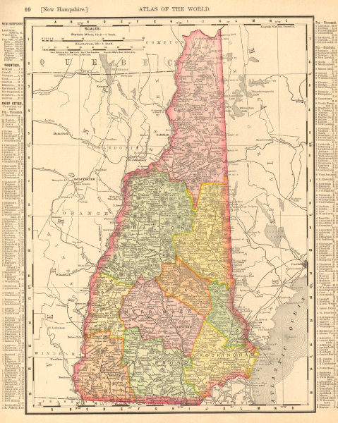 Associate Product New Hampshire state map showing counties. RAND MCNALLY 1906 old antique