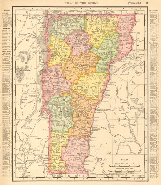 Associate Product Vermont state map showing counties. RAND MCNALLY 1906 old antique chart