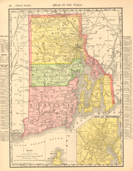 Associate Product Rhode Island state map showing counties. Providence inset. RAND MCNALLY 1906
