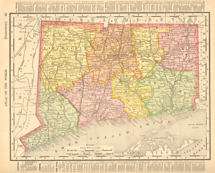 Associate Product Connecticut state map showing counties. RAND MCNALLY 1906 old antique