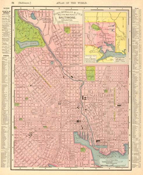 Baltimore town city map plan. Maryland. RAND MCNALLY 1906 old antique