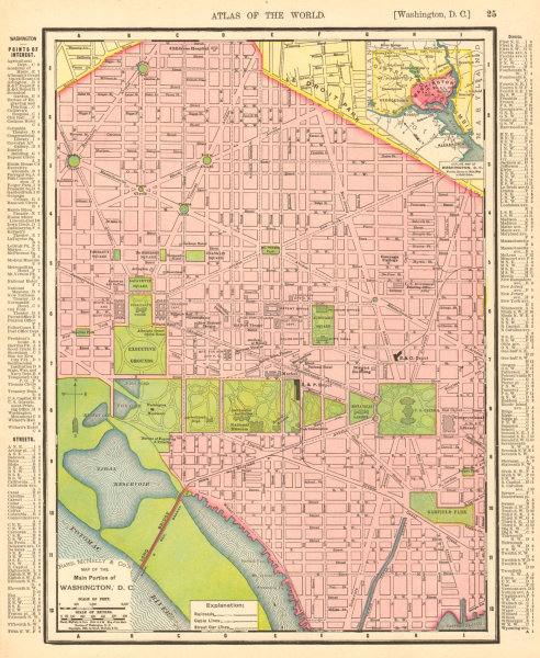 Associate Product Washington D.C. town city map plan. Washington DC. RAND MCNALLY 1906 old