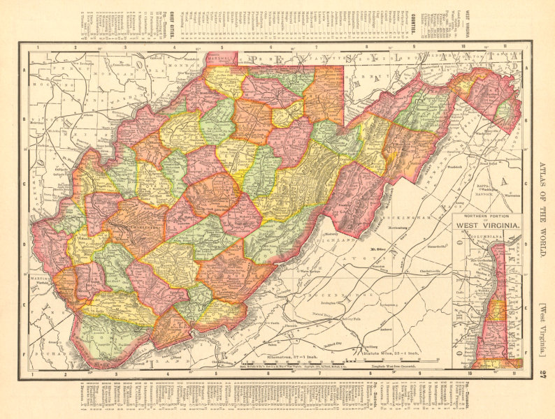 Associate Product West Virginia state map showing counties. RAND MCNALLY 1906 old antique