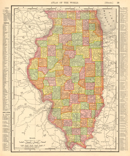 Associate Product Illinois state map showing counties. RAND MCNALLY 1906 old antique chart