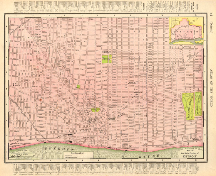 Associate Product Detroit town city map plan. Michigan. RAND MCNALLY 1906 old antique chart