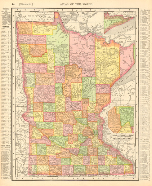 Associate Product Minnesota state map. Counties. Minneapolis-St. Paul. RAND MCNALLY 1906 old