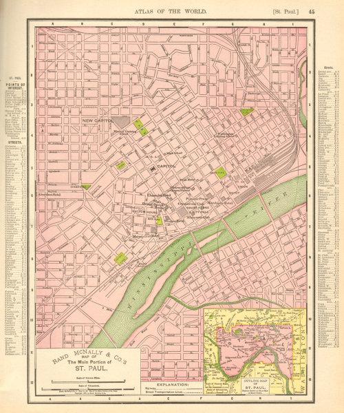 Associate Product St. Paul town city map plan. Minneapolis. Minnesota. RAND MCNALLY 1906 old