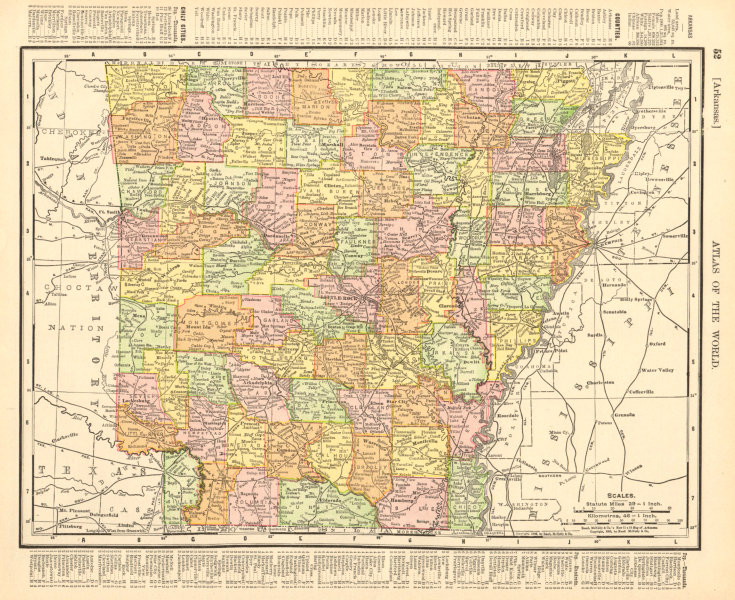 Associate Product Arkansas state map showing counties. RAND MCNALLY 1906 old antique chart