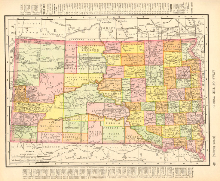 Associate Product South Dakota state map showing counties. RAND MCNALLY 1906 old antique