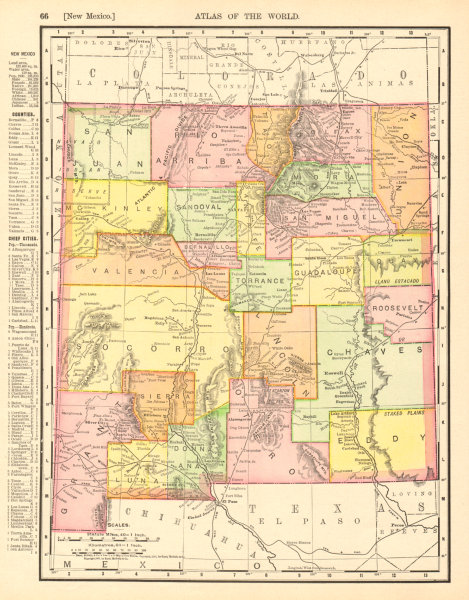 Associate Product New Mexico state map showing counties. RAND MCNALLY 1906 old antique chart
