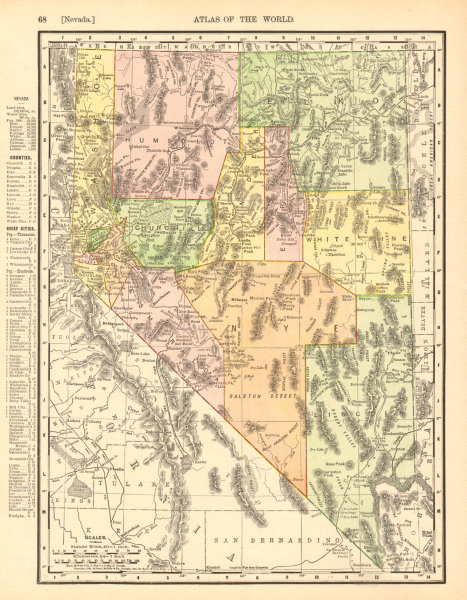 Associate Product Nevada state map. Shows Las Vegas Wash & valley. RAND MCNALLY 1906 old