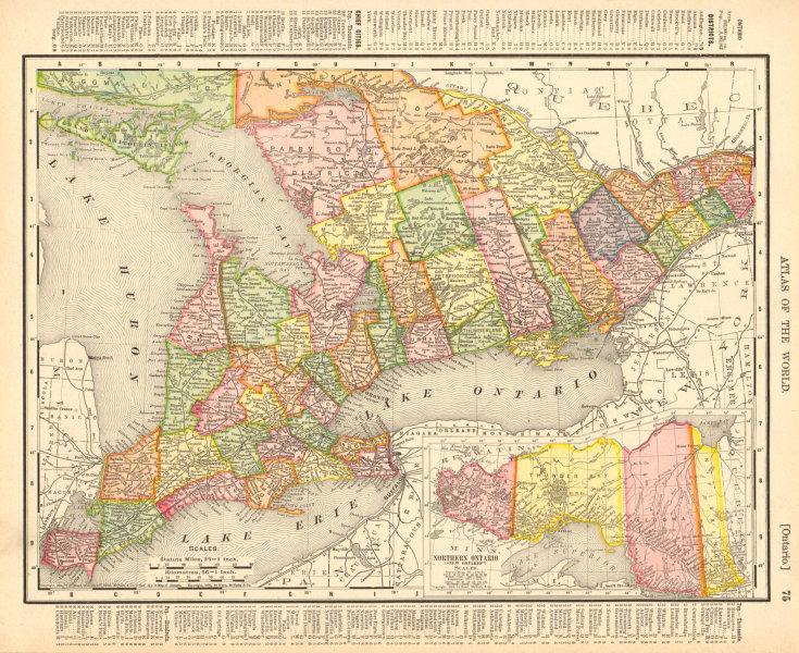 "Associate Product Ontario. Northern Ontario (""New Ontario""). Canada. RAND MCNALLY 1906 old map"