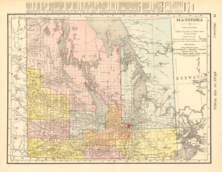 Associate Product Manitoba. Borders pre 1912 expansion. Canada. RAND MCNALLY 1906 old map