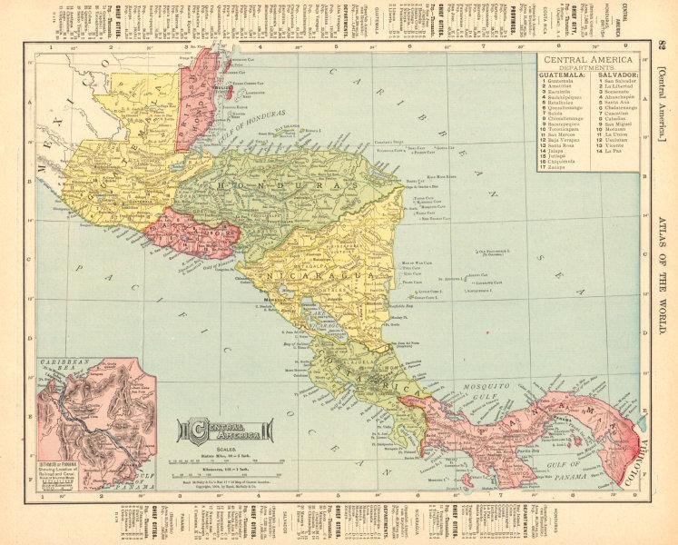 Associate Product Central America. British Honduras Nicaragua Costa Rica. RAND MCNALLY 1906 map