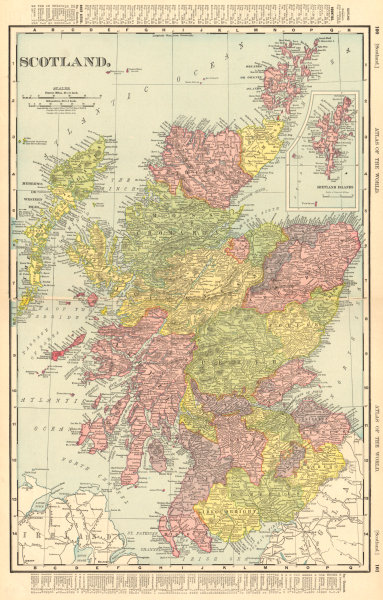 Associate Product Scotland in counties. RAND MCNALLY 1906 old antique vintage map plan chart