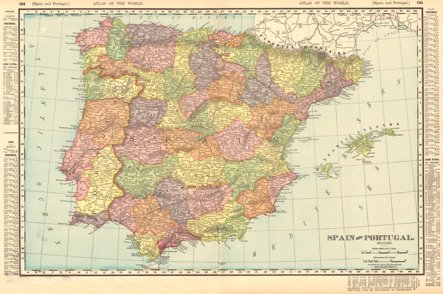 Associate Product Spain & Portugal in provinces. Iberia. RAND MCNALLY 1906 old antique map chart