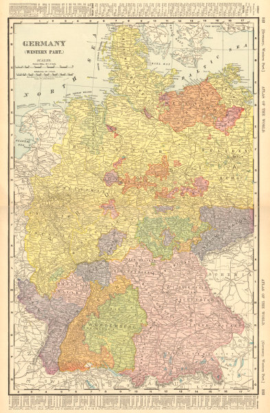 Associate Product WESTERN GERMANY EMPIRE inc. Alsace Lorraine. Berlin. RAND MCNALLY 1906 old map