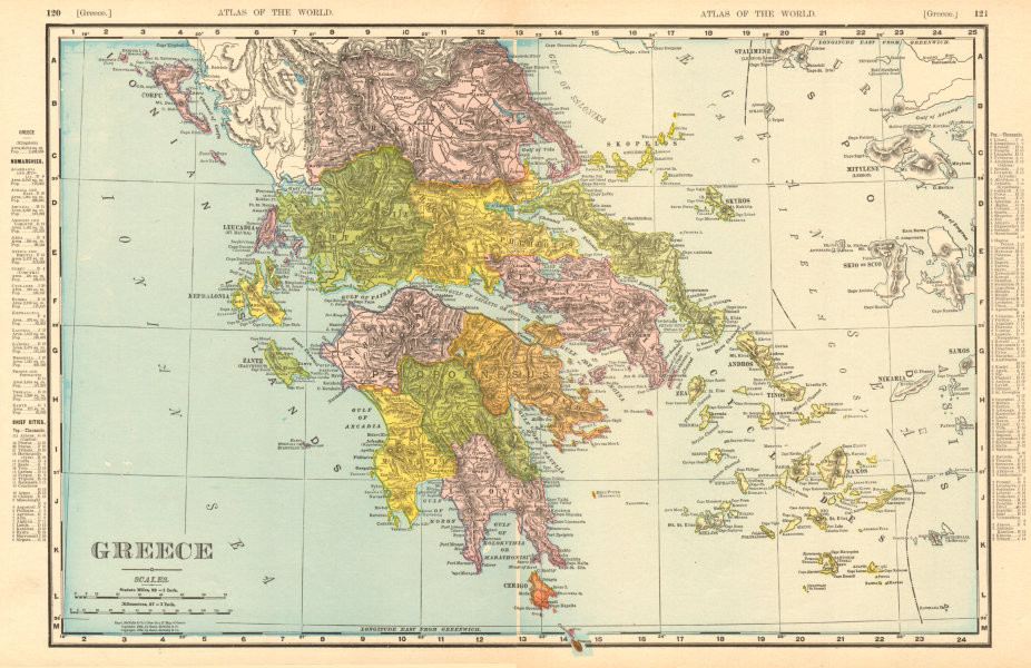 Associate Product Greece. Aegean & Ionian islands. Cyclades. RAND MCNALLY 1906 old antique map