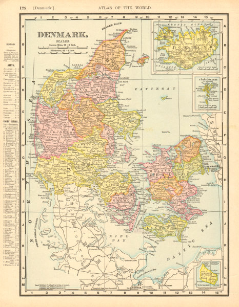 Associate Product DENMARK. Inset Iceland. RAND MCNALLY 1906 old antique vintage map plan chart