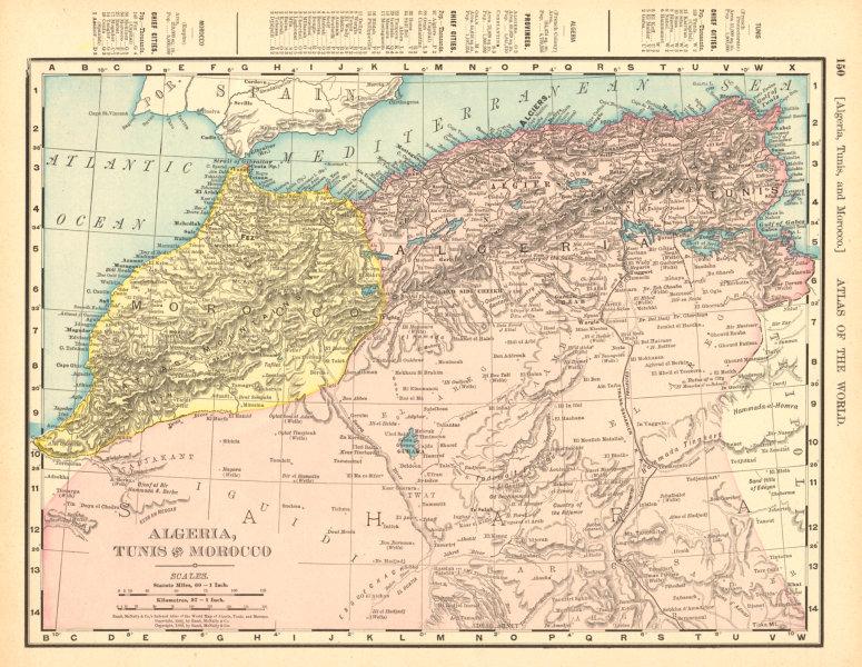 Details about Algeria, Tunisia & Morocco. Sahara Desert. North Africa. RAND  MCNALLY 1906 map