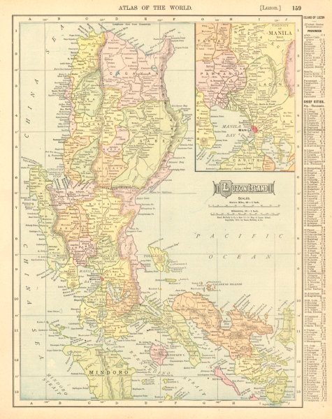 Associate Product LUZON ISLAND. Philippines. Manila environs. RAND MCNALLY 1906 old antique map