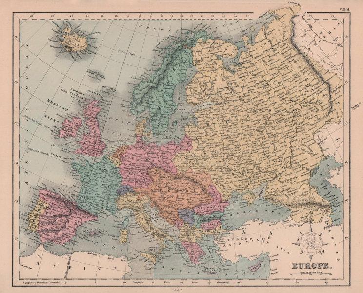 Europe. Austria-Hungary. East Roumelia. Ticino shown as Italian. HUGHES 1876 map