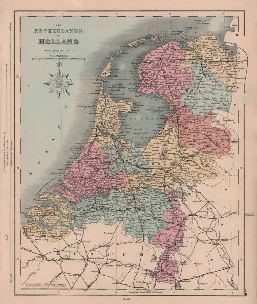 The Netherlands or Holland in provinces. HUGHES 1876 old antique map chart