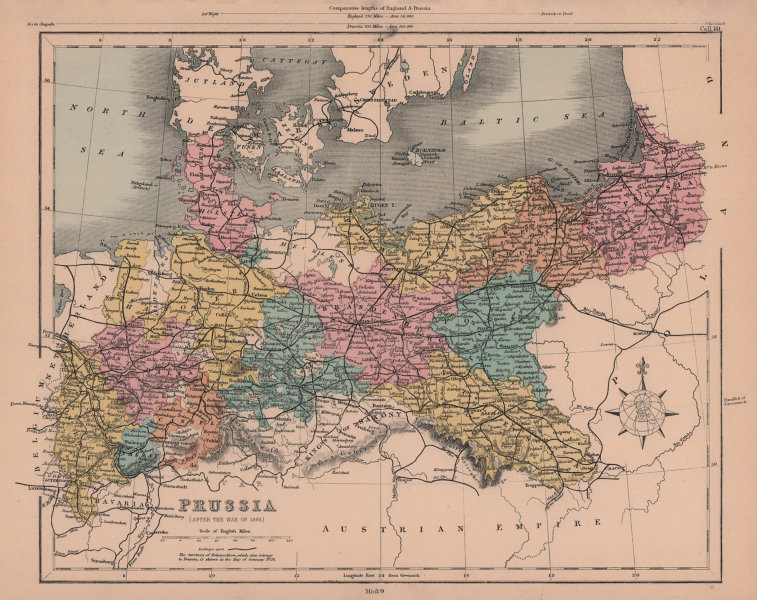Prussia after the war of 1866. Germany & Poland. HUGHES 1876 old antique map