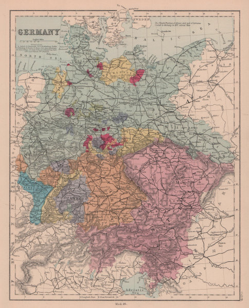 Germany including Alsace Lorraine Austria & Bohemia. HUGHES 1876 old map