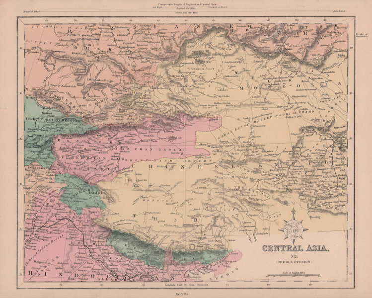 Central Asia (Middle). Western China Tibet Mongolia Nepal Bhutan HUGHES 1876 map