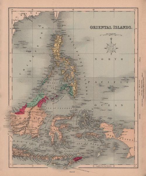Oriental Islands. Indonesia & Philippines. Borneo Celebes. HUGHES 1876 old map