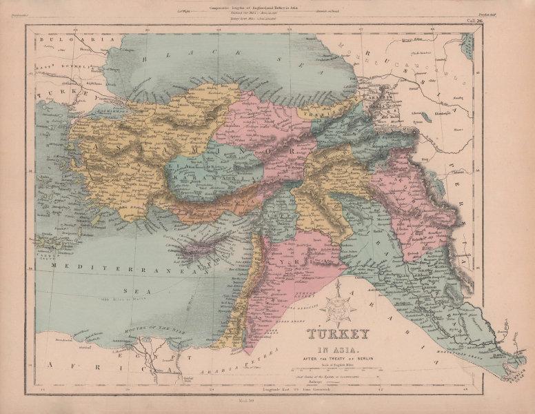 Turkey in Asia after the Treaty of Berlin. Levant Anatolia. HUGHES 1876 map