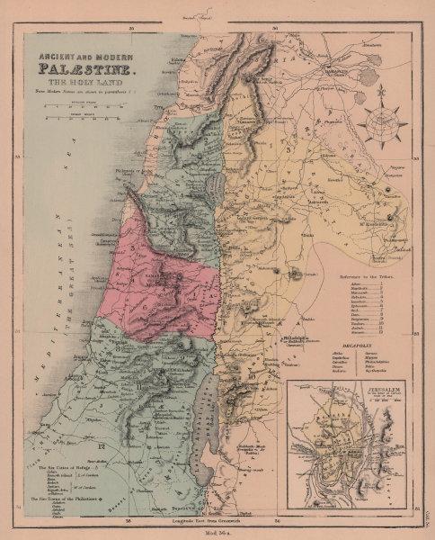 Ancient & Modern Palestine. Holy Land. Jerusalem time of Christ. HUGHES 1876 map