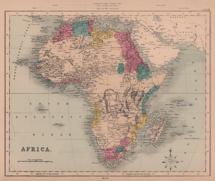 Early colonial Africa. Sofala Benguela Magadox. HUGHES 1876 old antique map