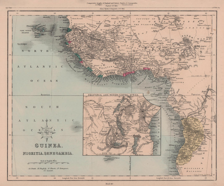 Guinea, Nigritia, Senegambia. West Africa & African Great Lakes. HUGHES 1876 map