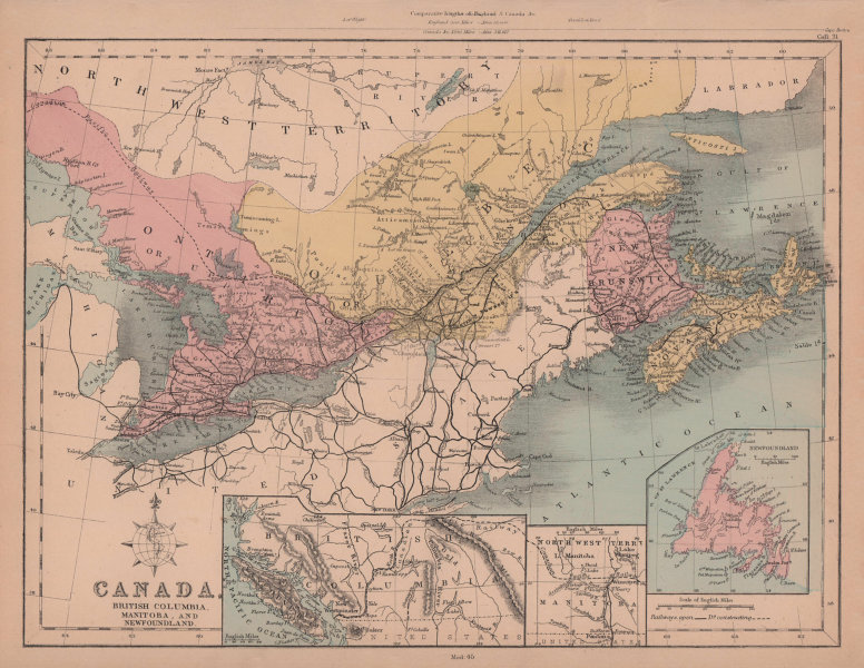 Eastern Canada. Ontario, Quebec & Maritimes. HUGHES 1876 old antique map chart
