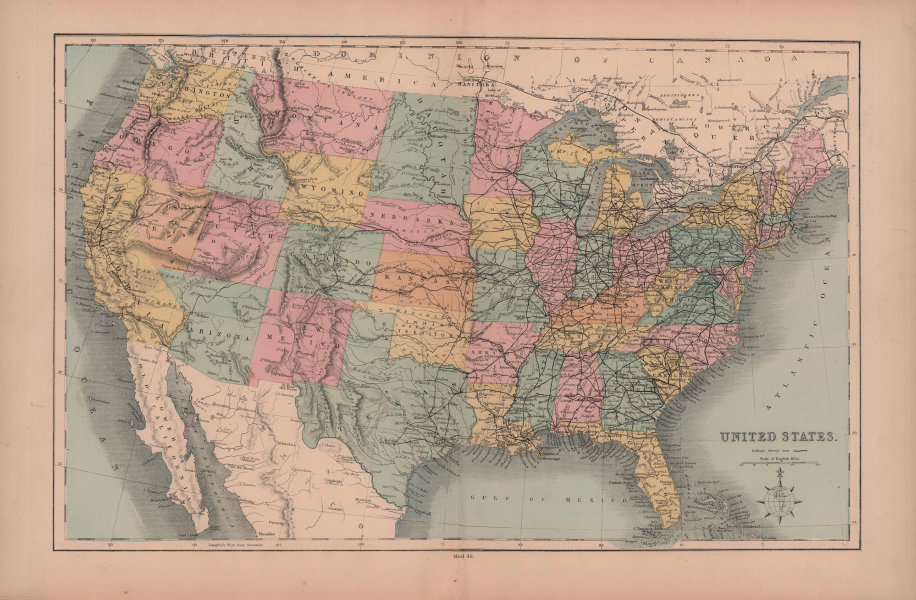 United States. Dacotah/Dakota. Arizona/Nevada <1867 border. HUGHES 1876 map