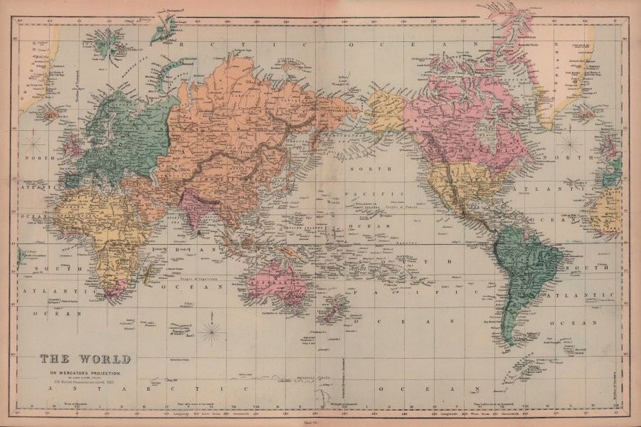 World on Mercator's Projection by John Dower. British Empire in pink 1876 map