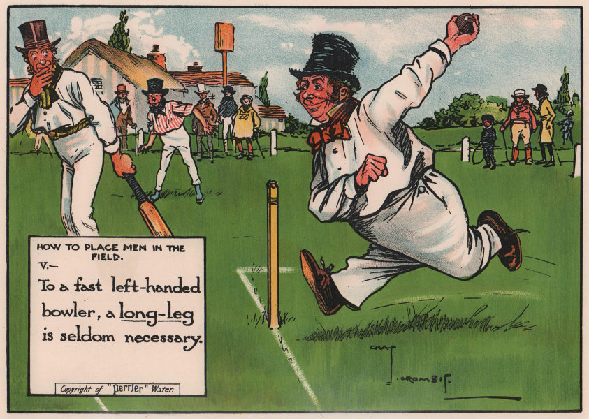 LAWS OF CRICKET. Long-leg unnecessary to a fast left-handed bowler. CROMBIE 1906