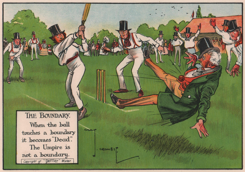 LAWS OF CRICKET. When the ball touches a boundary it becomes dead. CROMBIE 1906