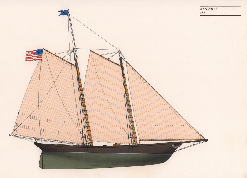 Americas Cup - America (1851) - New York Yacht Club. JOHN GARDNER 1971 print
