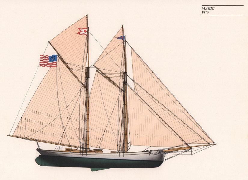 Americas Cup - Magic (1870) - New York Yacht Club. JOHN GARDNER 1971 old print