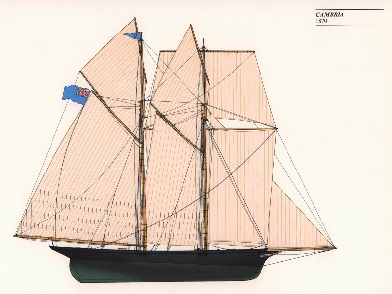 Americas Cup - Cambria (1870) - Royal Thames Yacht Club. JOHN GARDNER 1971