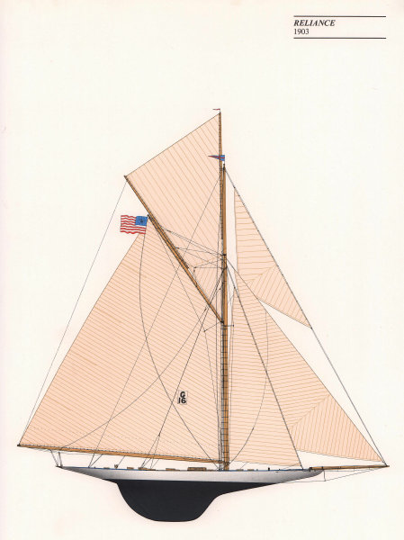 Americas Cup - Reliance (1903) - New York Yacht Club. JOHN GARDNER 1971 print