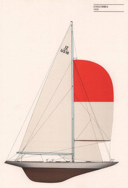 Americas Cup - Columbia (1958) - New York Yacht Club. JOHN GARDNER 1971 print
